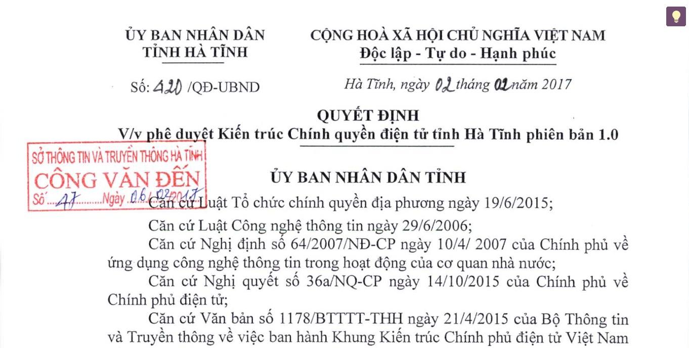 Quyết định số 420/QĐ-UBND ngày 02/02/2017 của UBND tỉnh v/v phê duyệt Kiến trúc Chính quyền điện tử tỉnh Hà Tĩnh phiên bản 1.0