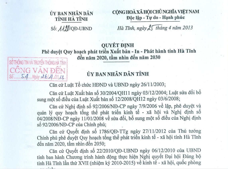 Quy hoạch phát triển Xuất bản - In -Phát hành tỉnh Hà Tĩnh đến năm 2020 và tầm nhìn đến 2030