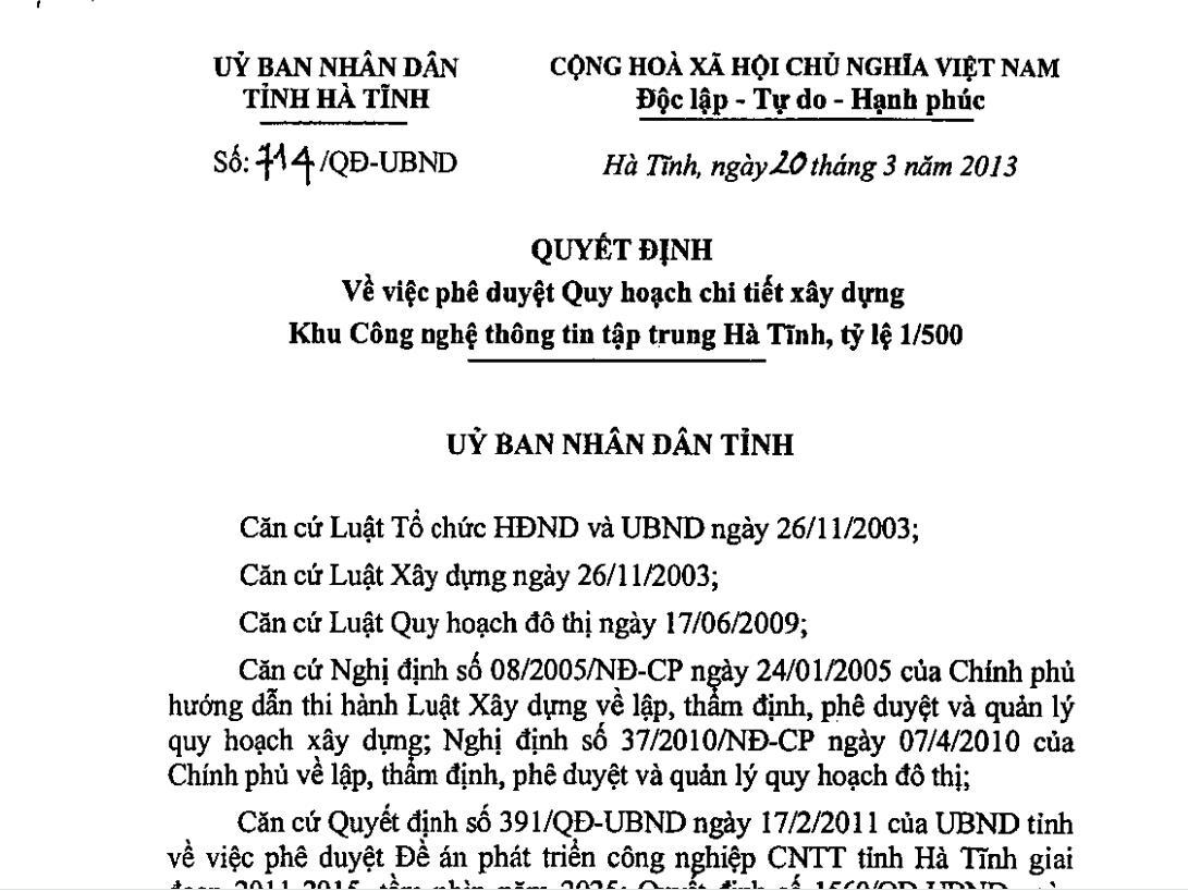 Quy hoạch Khu CNTT tập trung Hà Tĩnh
