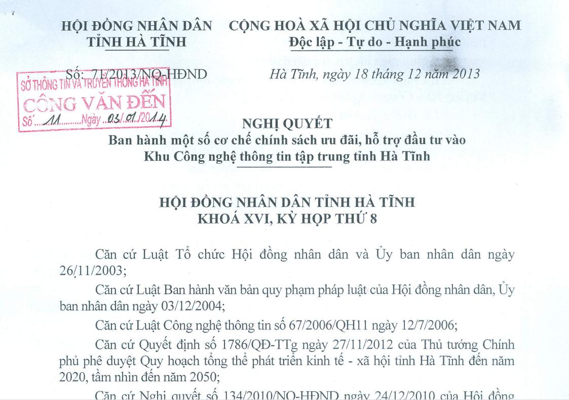 Chính sách ưu đãi, hỗ trợ đầu tư vào Khu CNTT tập trung Hà Tĩnh