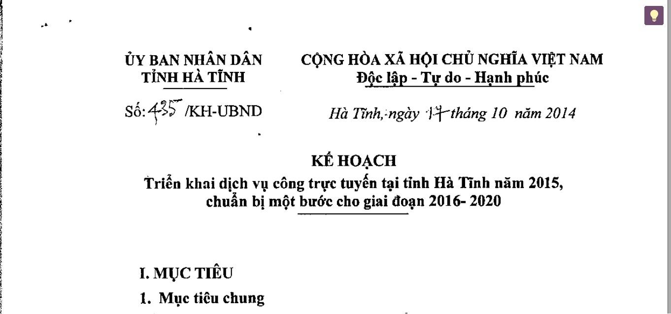 Kế hoạch số 435/KH-UBND ngày 17/10/2014 triển khai dịch vụ công trực tuyến tại tỉnh Hà Tĩnh năm 2015, chuẩn bị một bước cho giai đoạn 2016- 2020
