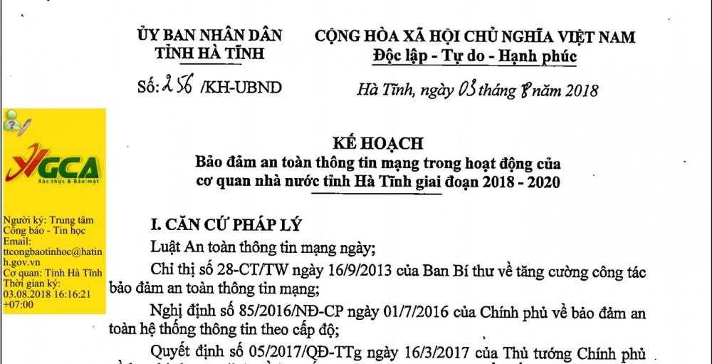 Kế hoạch Bảo đảm an toàn thông tin mạng trong hoạt động của cơ quan nhà nước tỉnh Hà Tĩnh giai đoạn 2018-2020